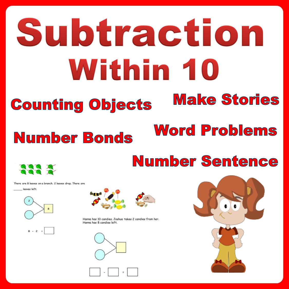 Learn To Subtract Within 10 Two Single Digits Using