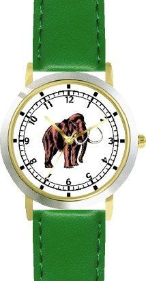 Woolly Mammoth Elephant Dinosaur Animal - WATCHBUDDY® DELUXE TWO-TONE THEME WATCH - Arabic Numbers - Green Leather... $49.95 (save $30.00)