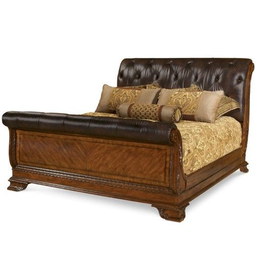 AR-143146 A.R.T. Furniture Old World Leather King Sleigh Bed