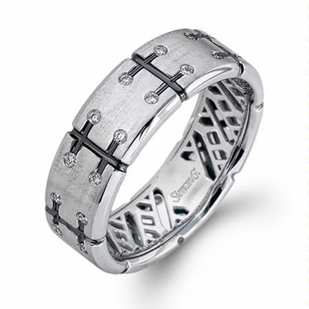 24ct Simon G Mens Diamond 14k White Gold Wedding Band Ring