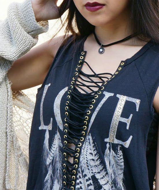 01b8c2d3fb76c Inspiração  camisetas customizadas com ilhós - moda e customização  ideias  para customizar camisetas