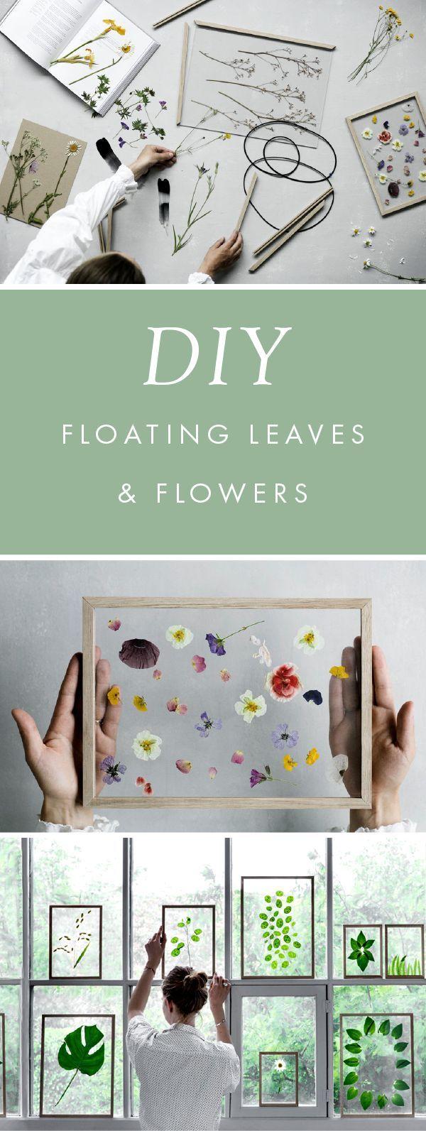 diy gift idea minimalist framed floating leaves u0026 flowers