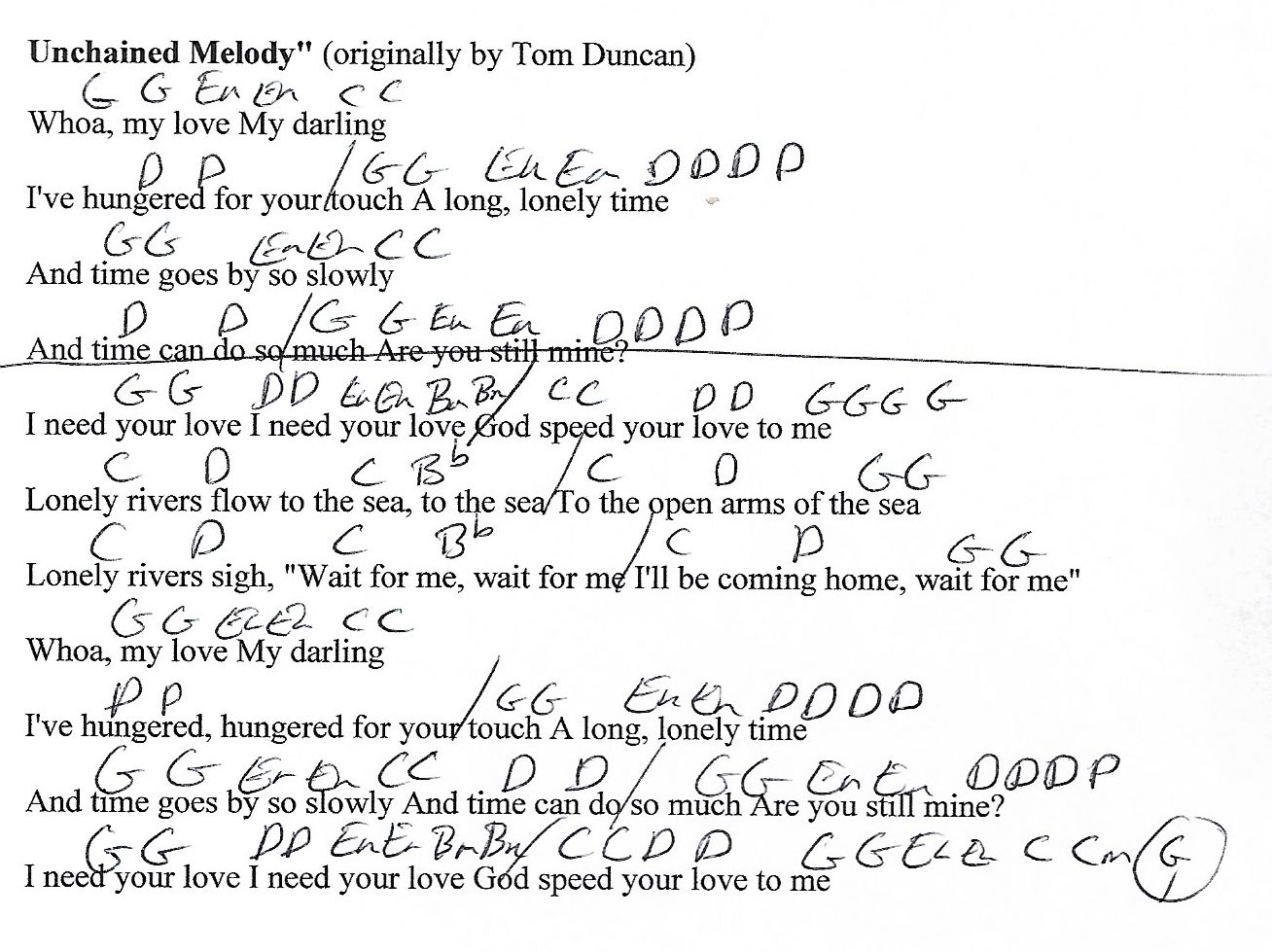 Unchained Melody G Major Guitar Chord Chart With Lyrics Http