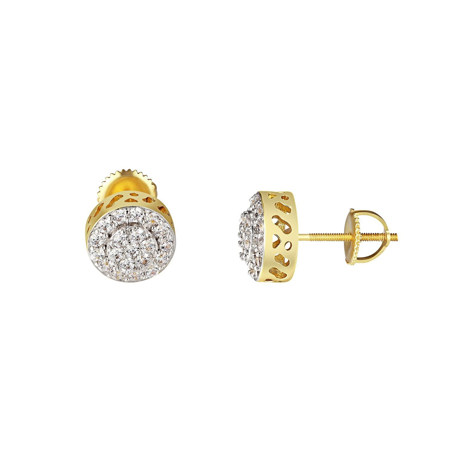 Cluster Set Halo Earrings Solitaire Simulated Diamonds Screw 14k