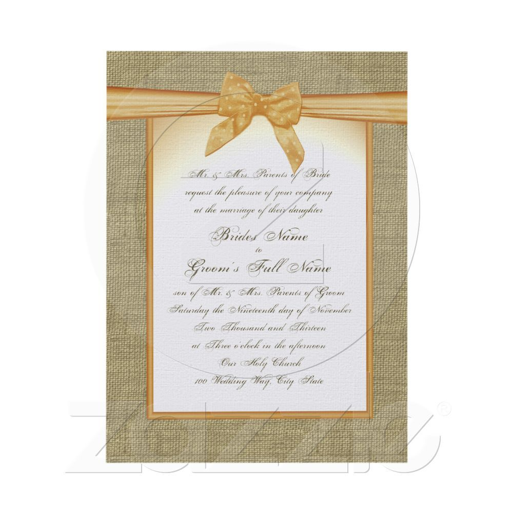 Burlap And Orange Bow Rustic Wedding Card Wedding Burlap And