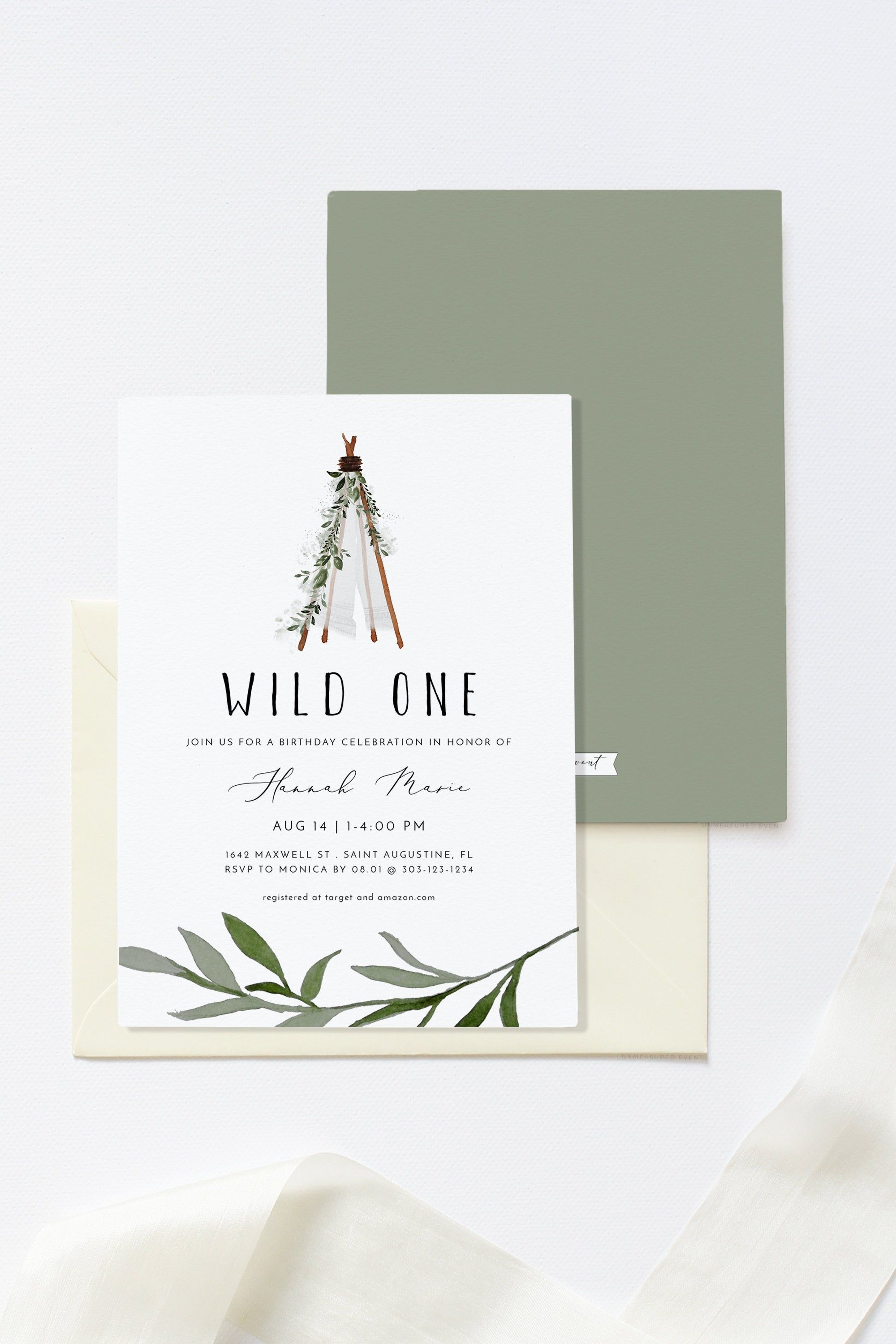 Hanna Teepee Birthday Invitation Wild One Birthday Etsy Wild One Birthday Invitations First Birthday Invitations Birthday Invitations