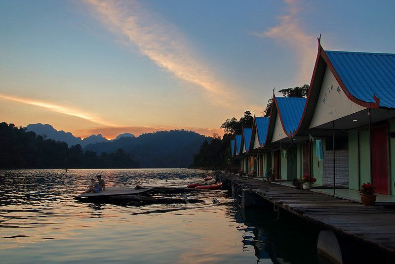 Sunset on the floating house