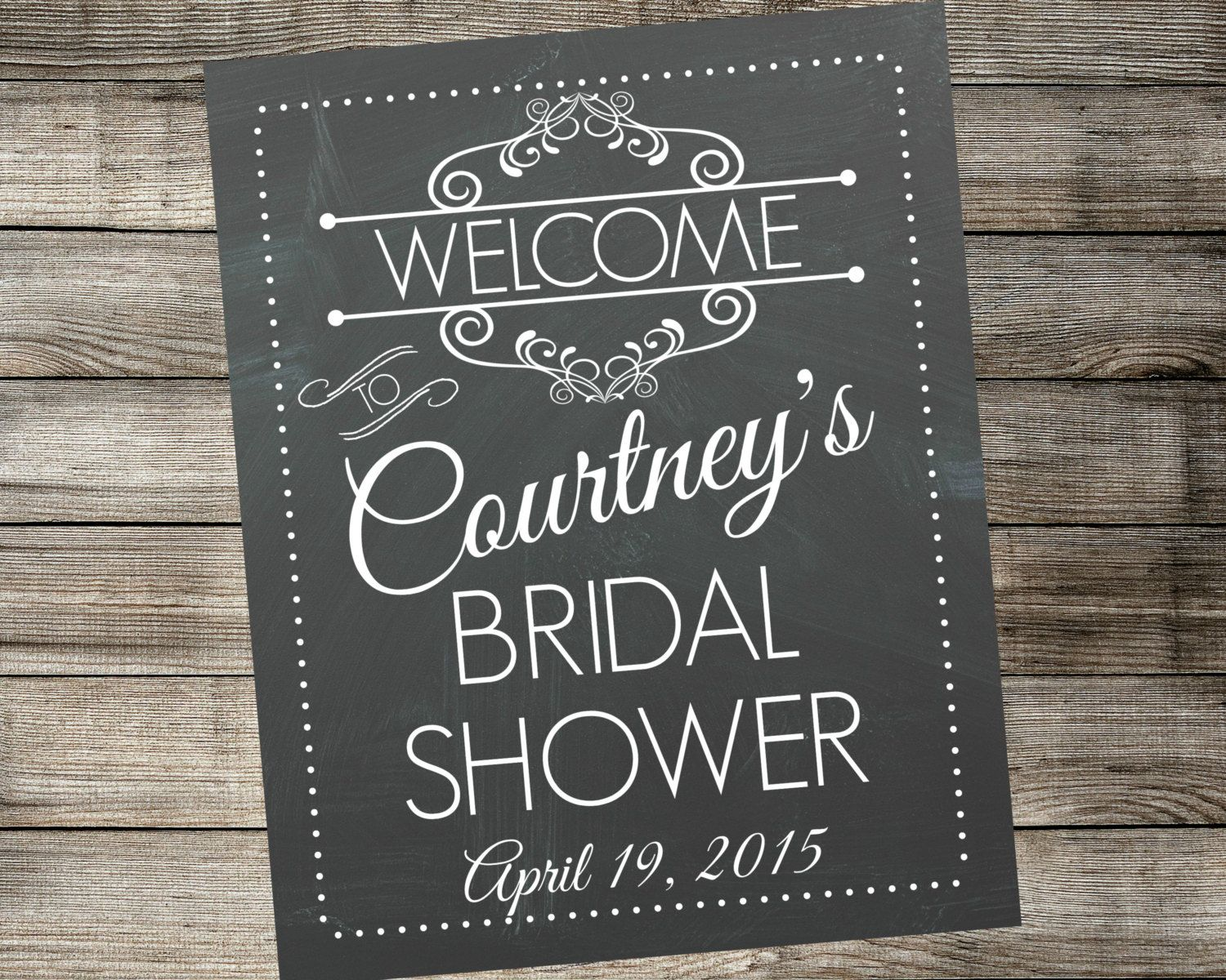 guess who bridal shower game printable%0A Personalized Bridal Shower Welcome Sign  Printable Vintage Chalkboard