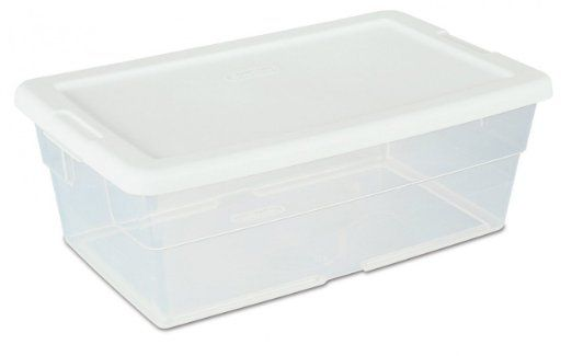 Amazon Com Sterilite 16428012 6 Quart 5 7 Liter Storage Box White Lid With Clear Base 12 Pack Home Kitch Plastic Storage Bins Sterilite White Storage Box