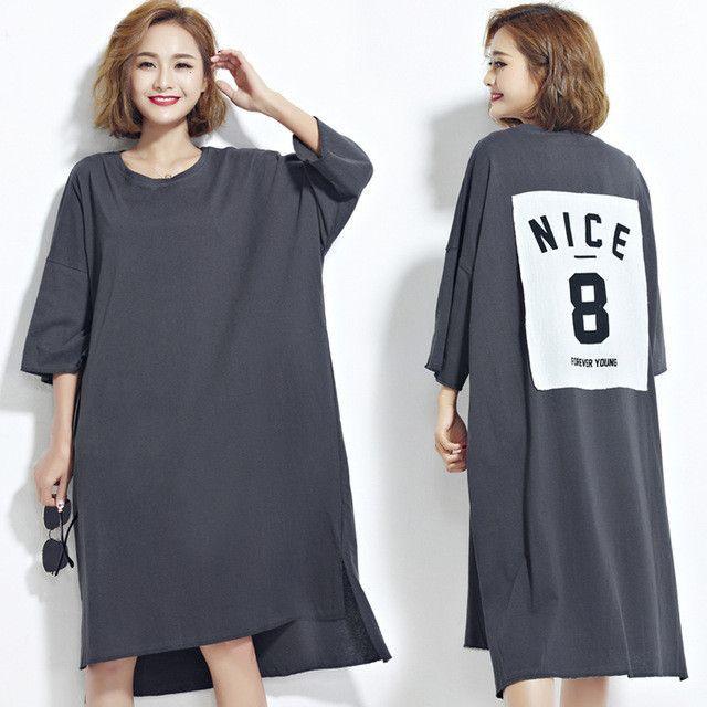 DIMANAF Women Plus Size Dress Summer Style O Neck Solid Number