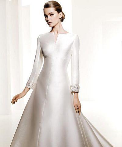 Taffeta Long Sleeve Wedding Dress with Chapel Train