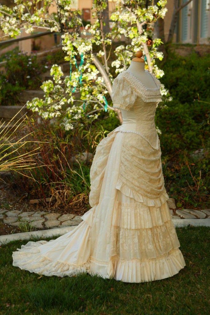 silk & cotton net lace wedding bustle dress in 2020