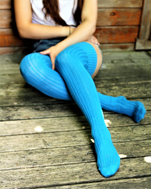 ef2db2bb1 Bright AQUA TURQUOISE Ribbed Thigh high Socks Better than leg ...
