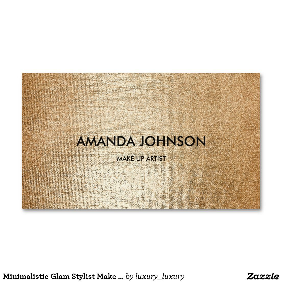 Minimalistic Glam Stylist Make Up Artist Gold Vip Business Card