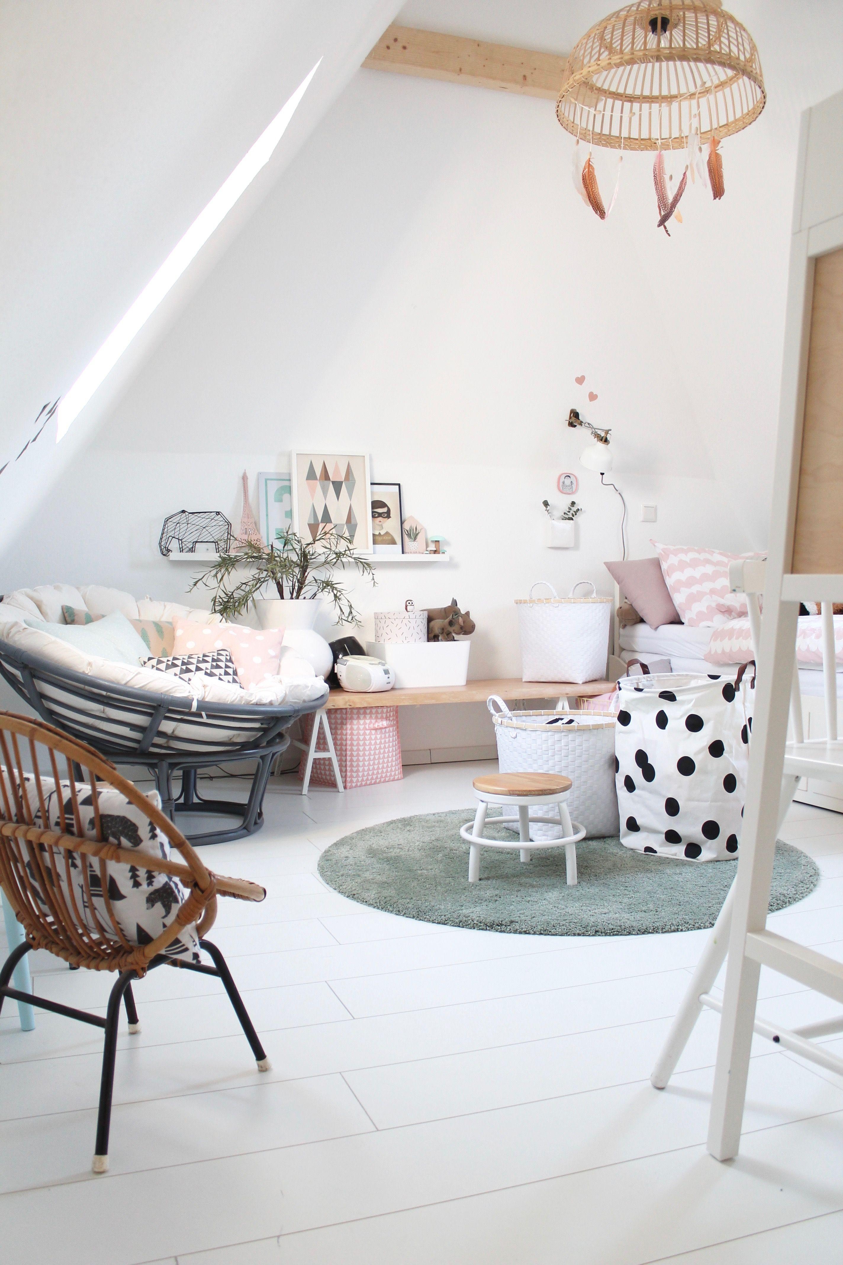 Der ausgebaute Dachboden balkenholzschrägekinderzimmer