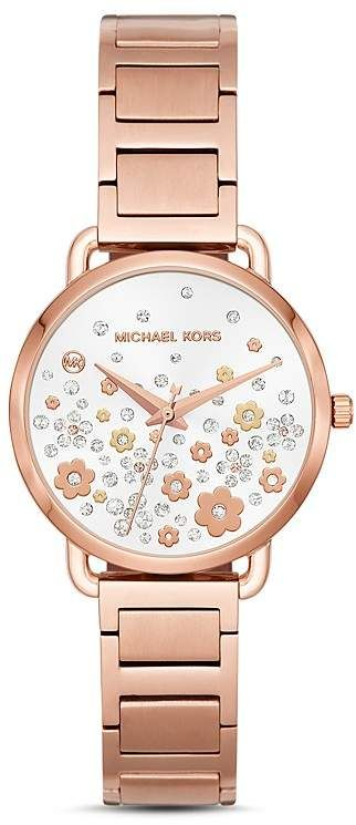 c94c291a7c28 Michael Kors Rose Gold-Tone Portia Floral Pavé Watch