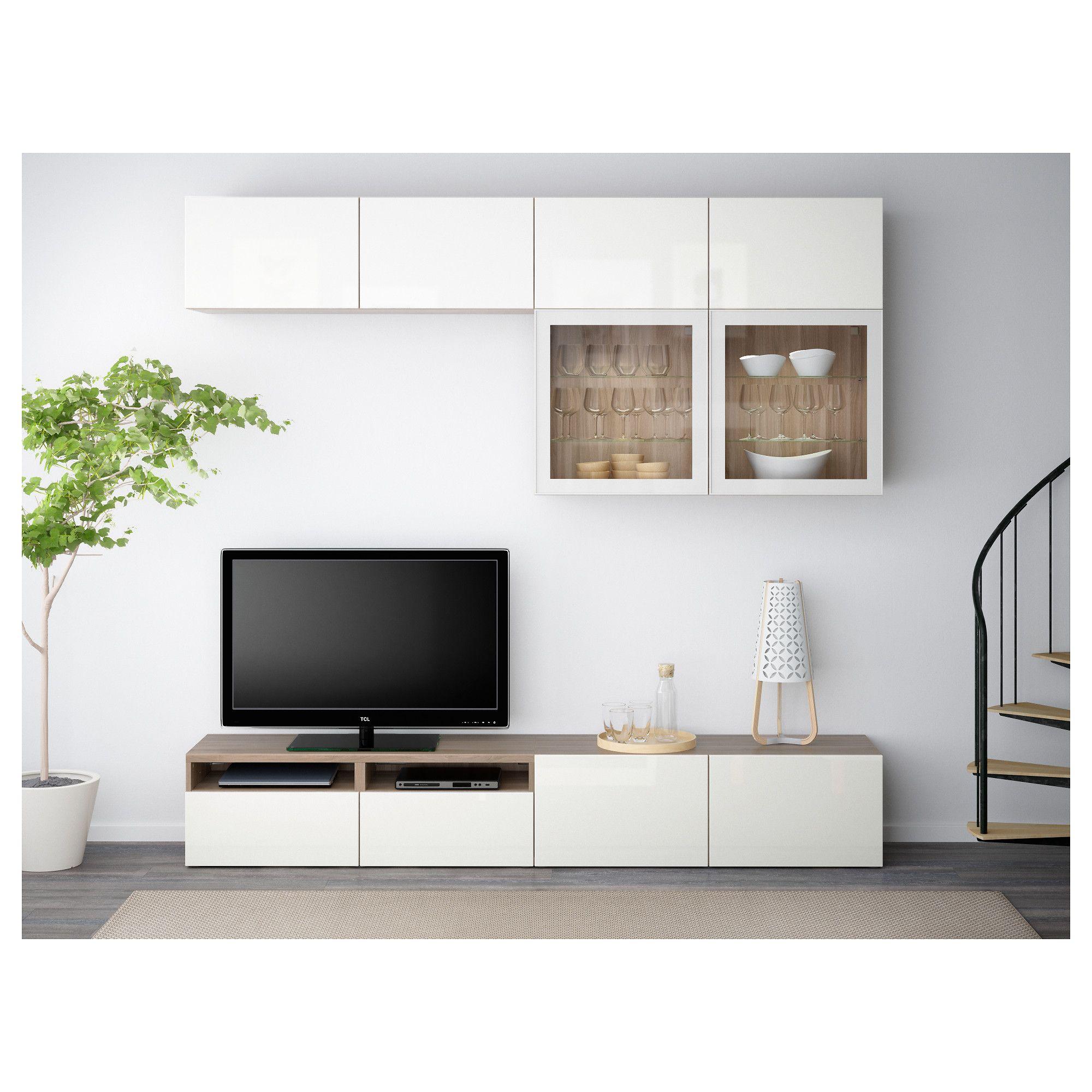 Best 197 Tv Storage Combination Glass Doors Walnut Effect