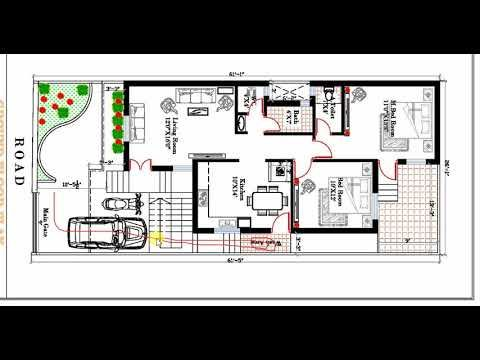 26x60 ft SOUTH FACING HOUSE PLAN IN HINDI