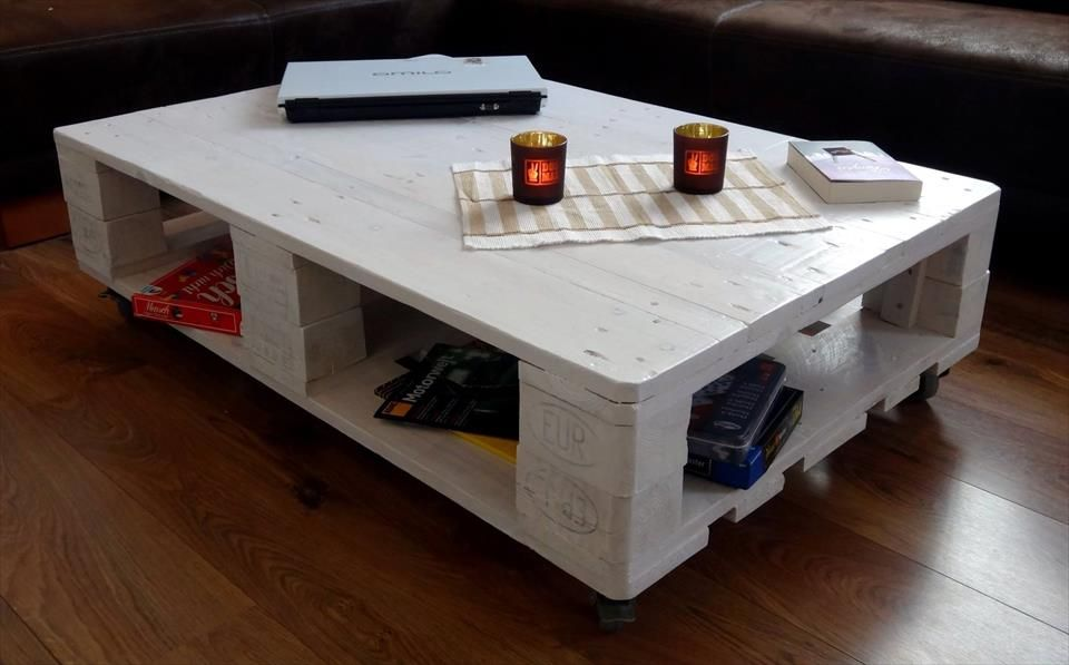Euro Pallet Coffee Table With Wheels Pallet Projects Furniture