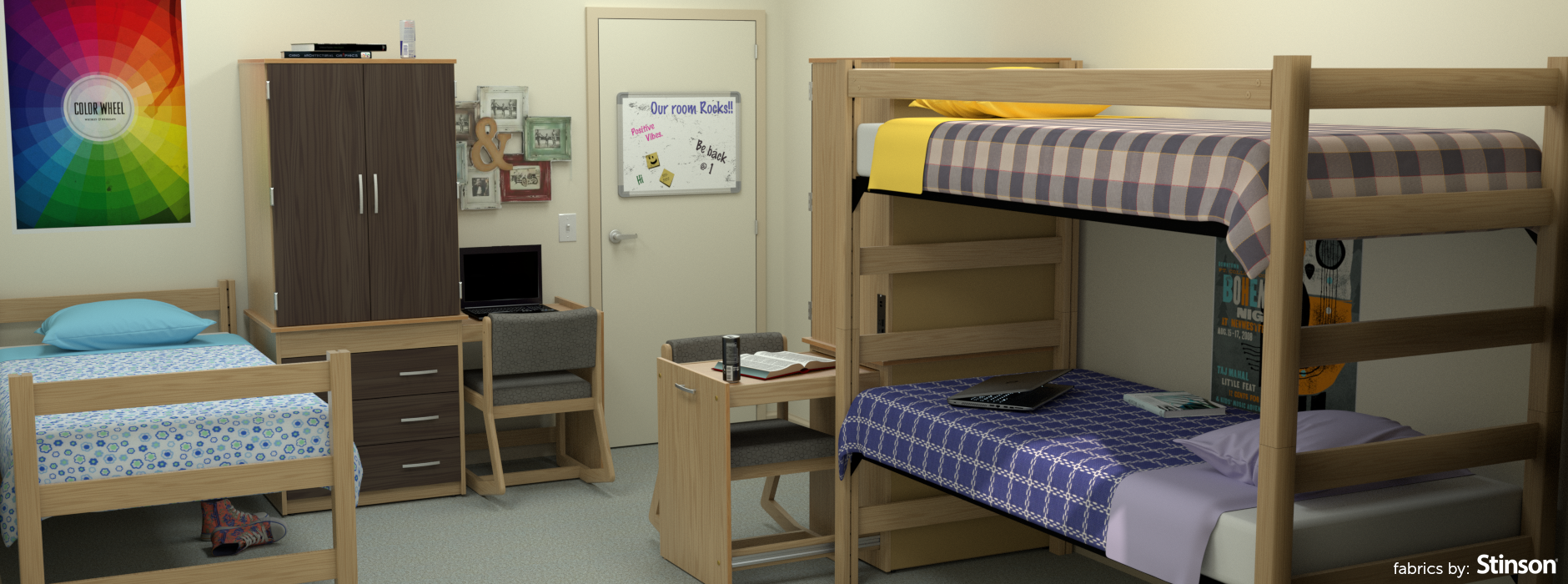 an example of our furniture in place this is a dorm room with our