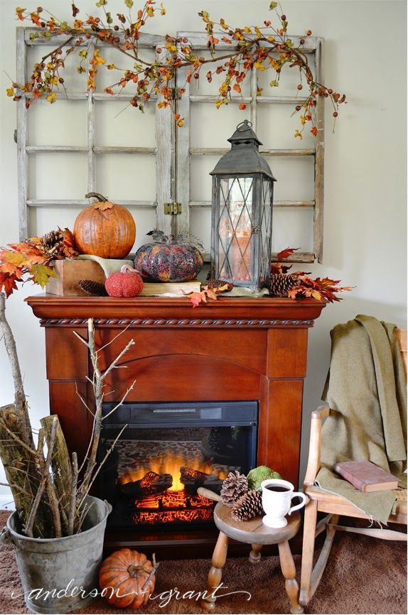 Decorating My Living Room For Fall Fall Fireplace Fall Fireplace Decor Farmhouse Fall Decor