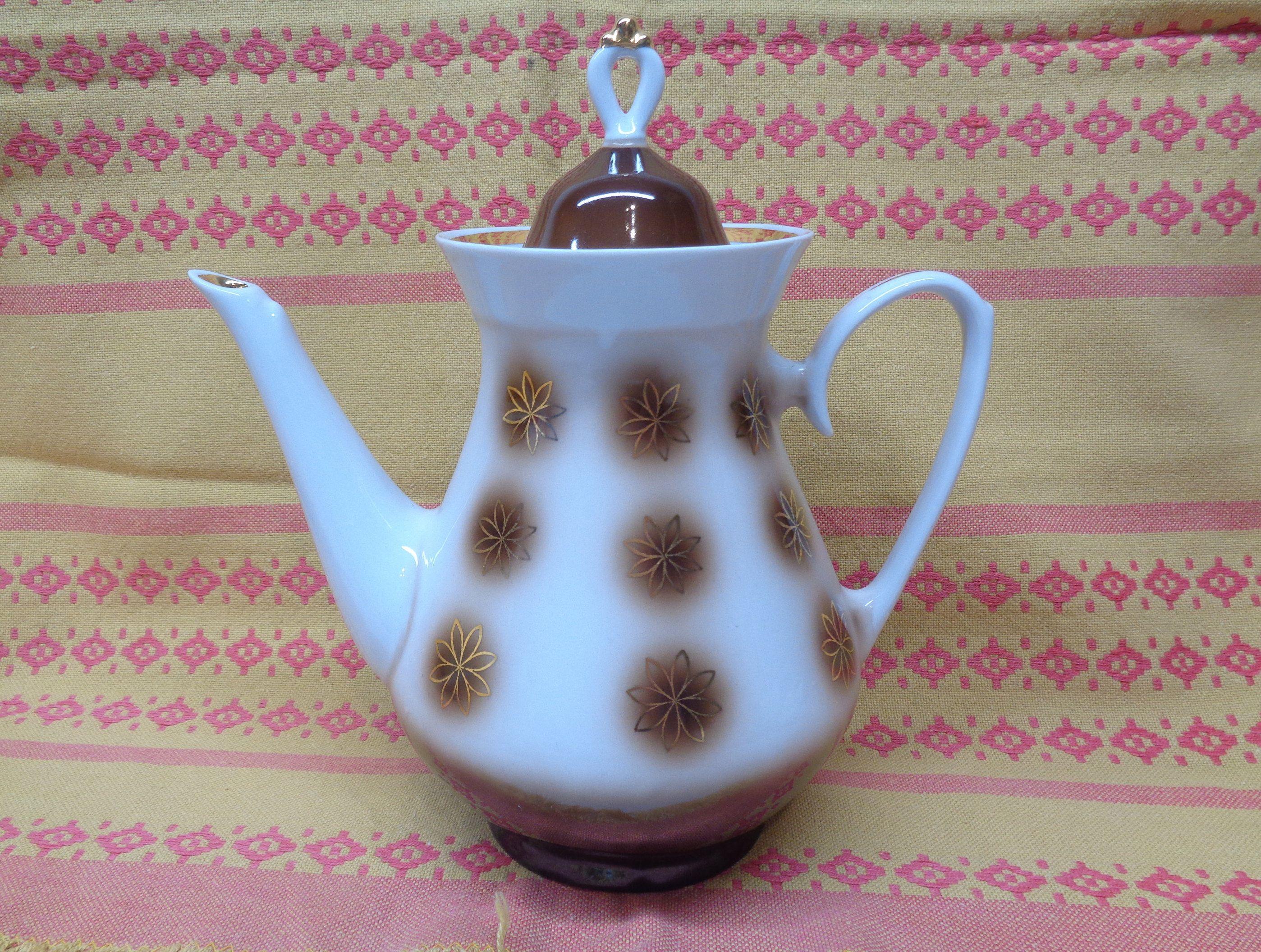 Soviet Vintage Coffee Pot; Retro Porcelain Coffee Pot