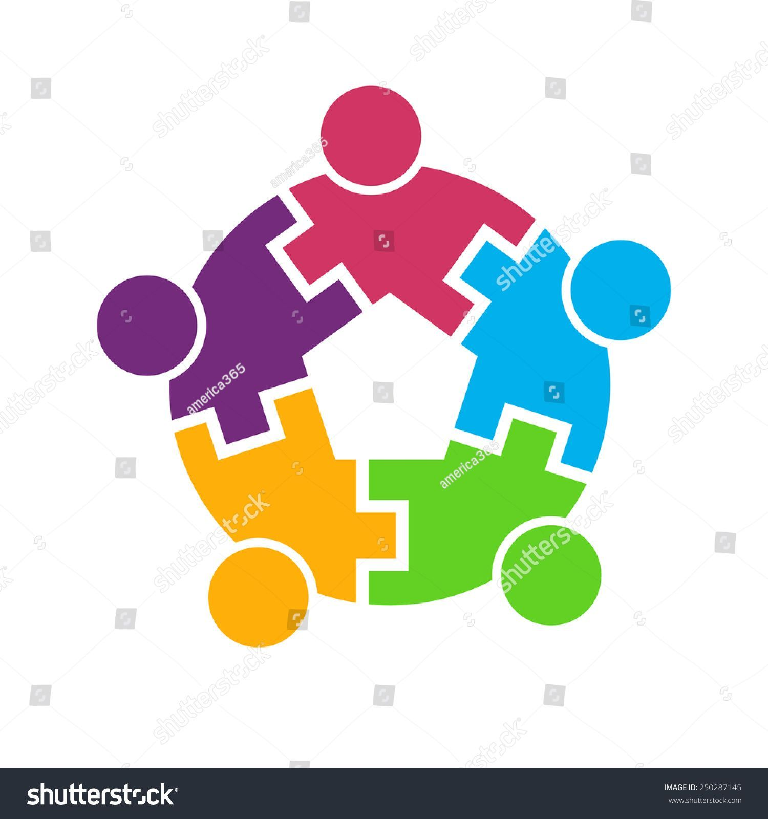 Teamwork 5 people logo circle interlaced Concept group of connected