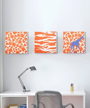 Take a look at this Rusty Orange Giraffe Canvas - Set of Three by GiggleDots on #zulily today!