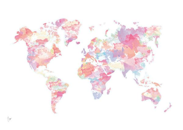 Watercolour World Map pink Canvas Print by Clover Society6