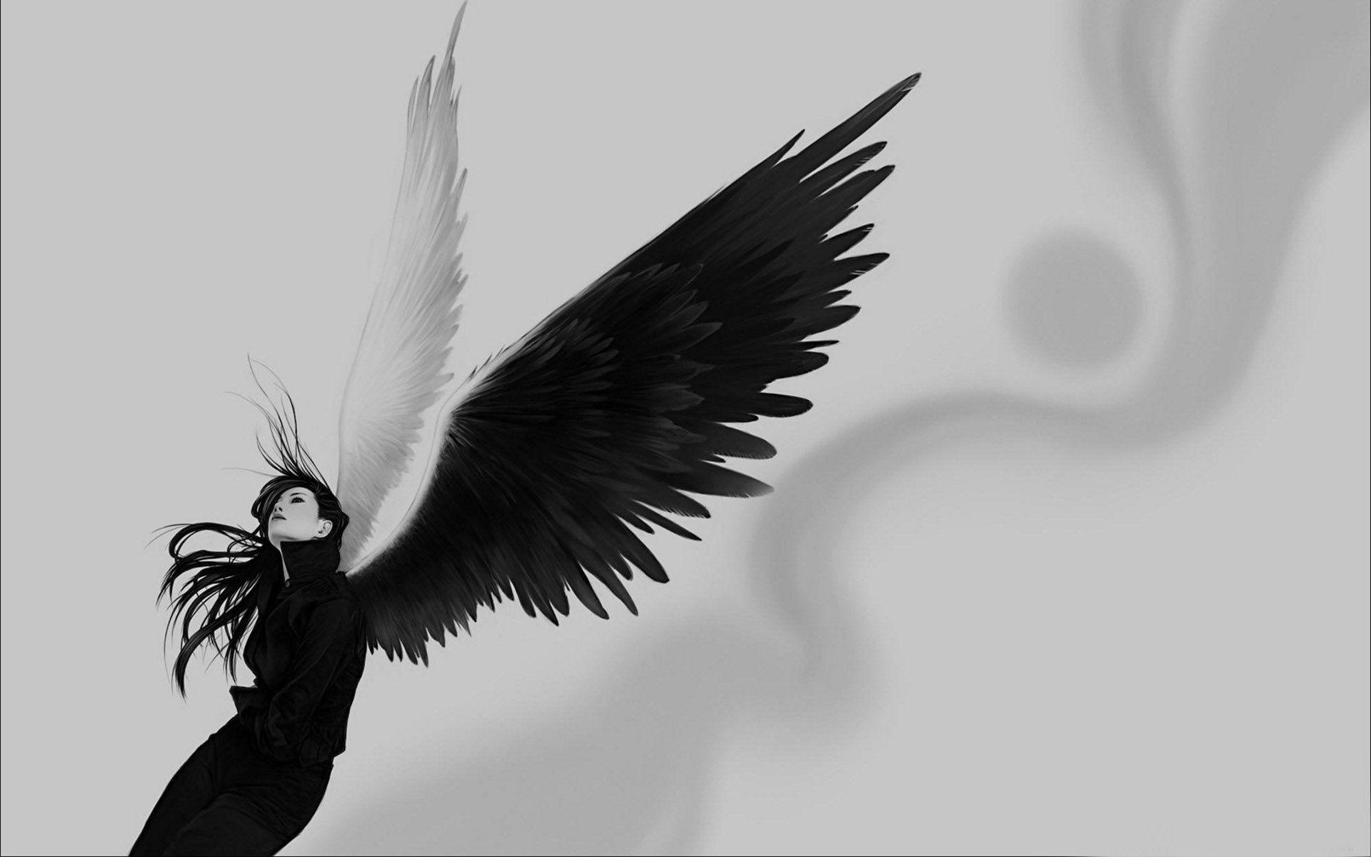 Wallpaper angel wings white black girl