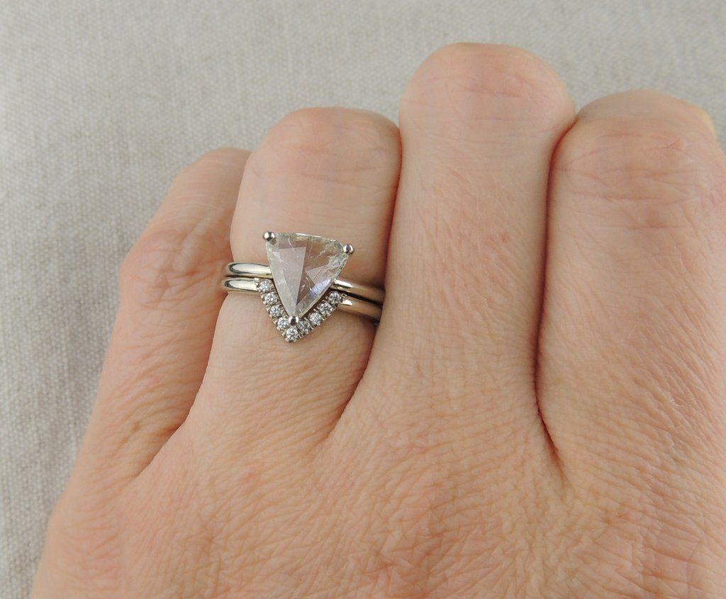 118 Carat Triangle Prong Set Diamond Engagement Ring 14k White Gold