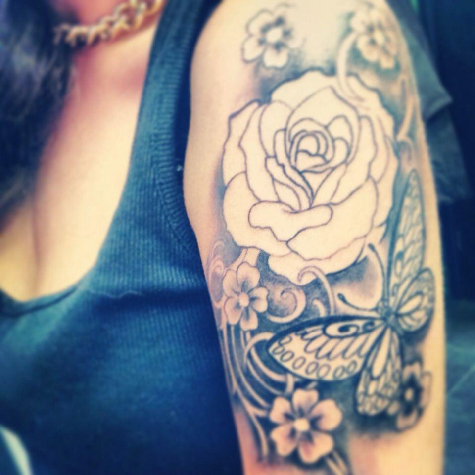 Half sleeve in process not finished yet roses butterflyus pretty