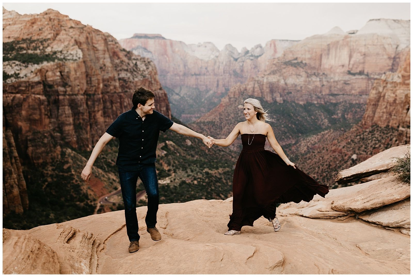 Megan And Andrew Adventurous Engagement Session In Zion National Park Adventure Engagement Photos Utah Wedding Photography Red Rock Wedding