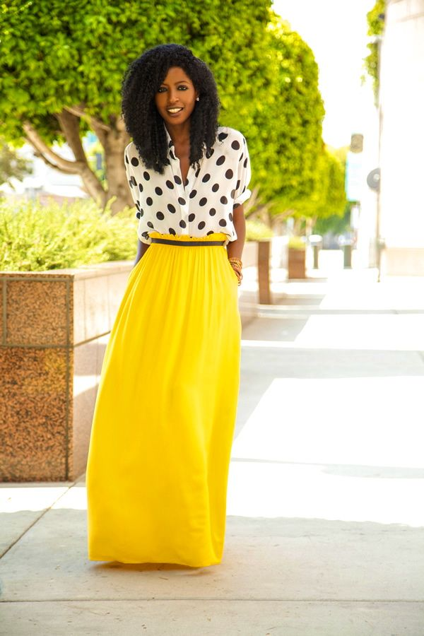 Bright yellow maxi belted with a polka dots blouse