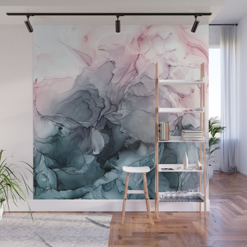 Give Your Home A Bold Accent Wall With Society6 S New Peel Stick Wall Murals Mural Design Wallpaper Accent Wall Wall Murals
