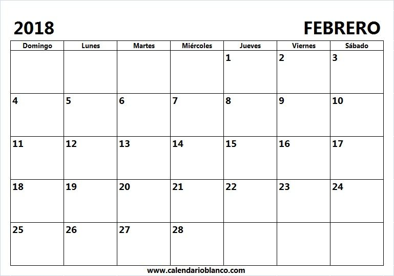 Calendario En Blanco Febrero 2018 Moviles Pinterest