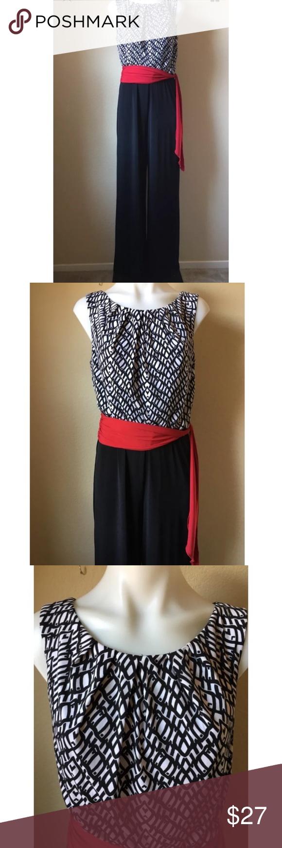 Dressbarn pant jumpsuit black white red belt pinterest red belt