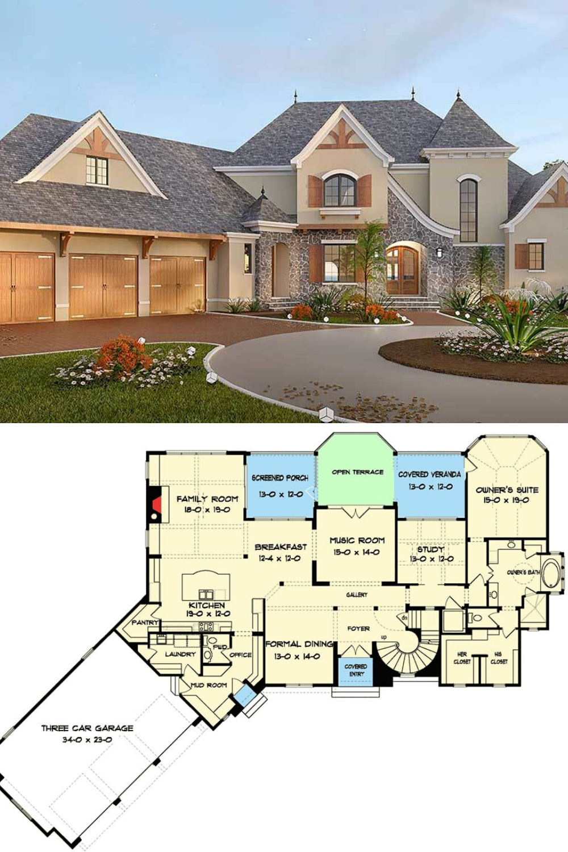 Two Story 5 Bedroom Tudor Mansion Floor Plan Mansion Floor Plan Mansion Plans Sims House Plans