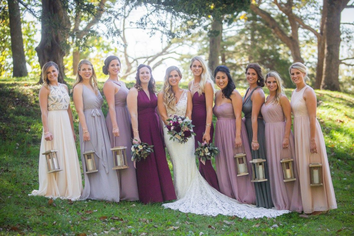 Burgundy wedding dusty hued bridesmaids pink and gray burgundy burgundy wedding dusty hued bridesmaids pink and gray burgundy and eucalyptus bouquets with alternative bridesmaid ombrellifo Image collections