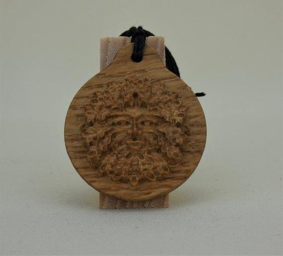 Photo of Greenman, Oak, Wood, Wooden, Pendant, Green Man, Pagan, Wood Engraving