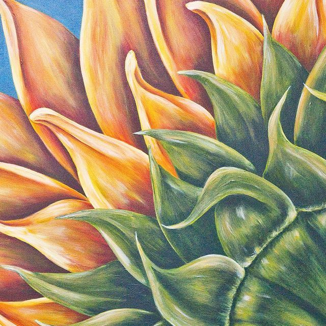 Denise Wood's signature works are colorful closeups of flowers.