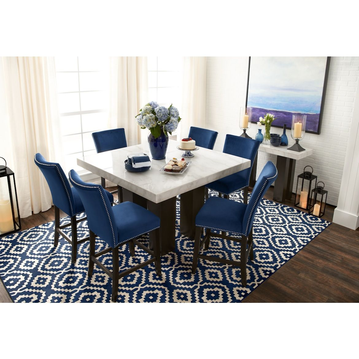 Artemis Counter Height Upholstered Stool Blue Value City
