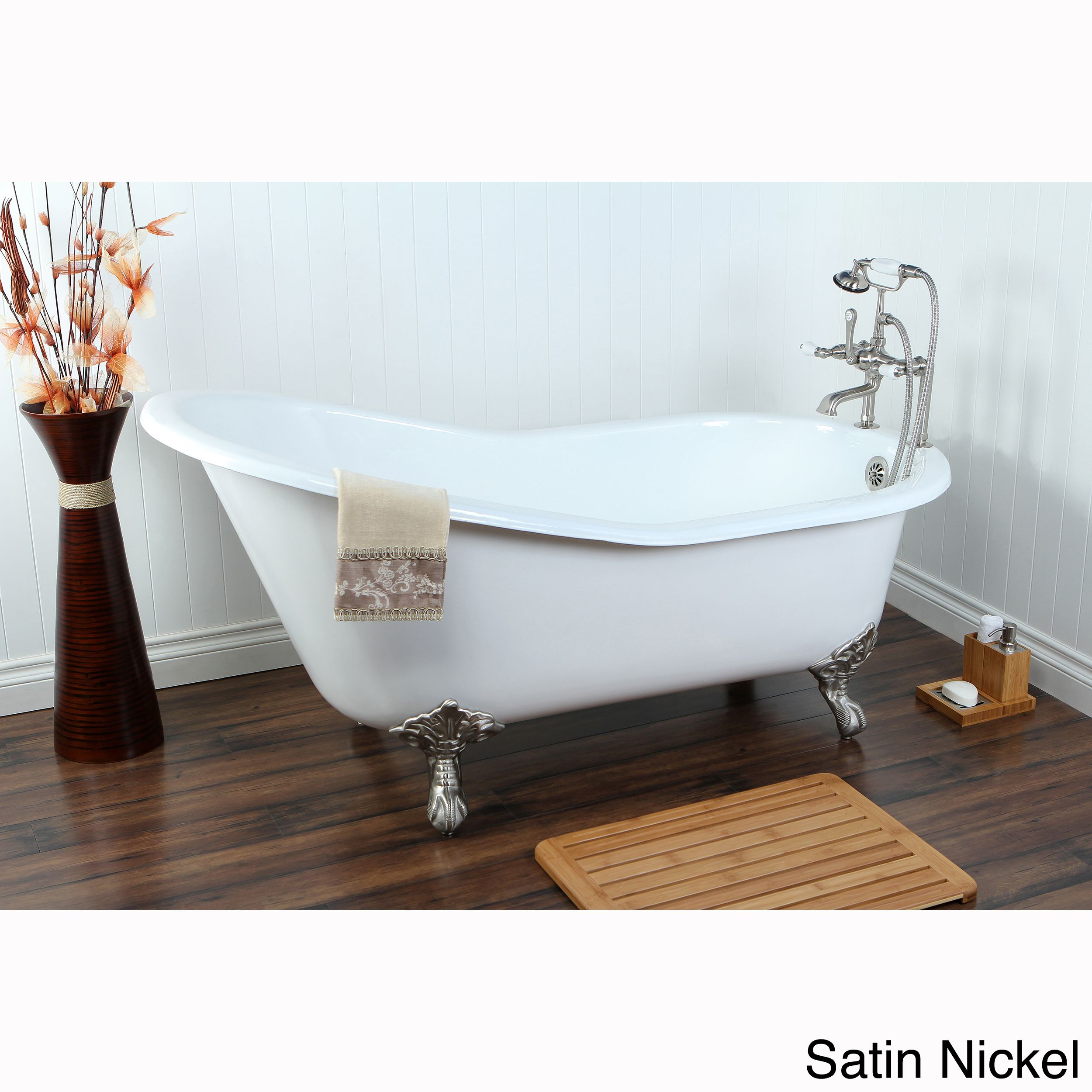 If you want a vintage look in your bathroom, this elegant cast-iron clawfoot tub is a great choice. With your choice of feet finishes and an exterior that can be painted to match your decor, this tub will be a unique focal point for your room.