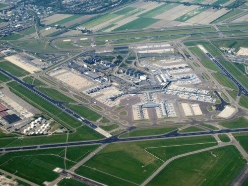 View Of Amsterdam Airport Schiphol From A Plane Window Aerial
