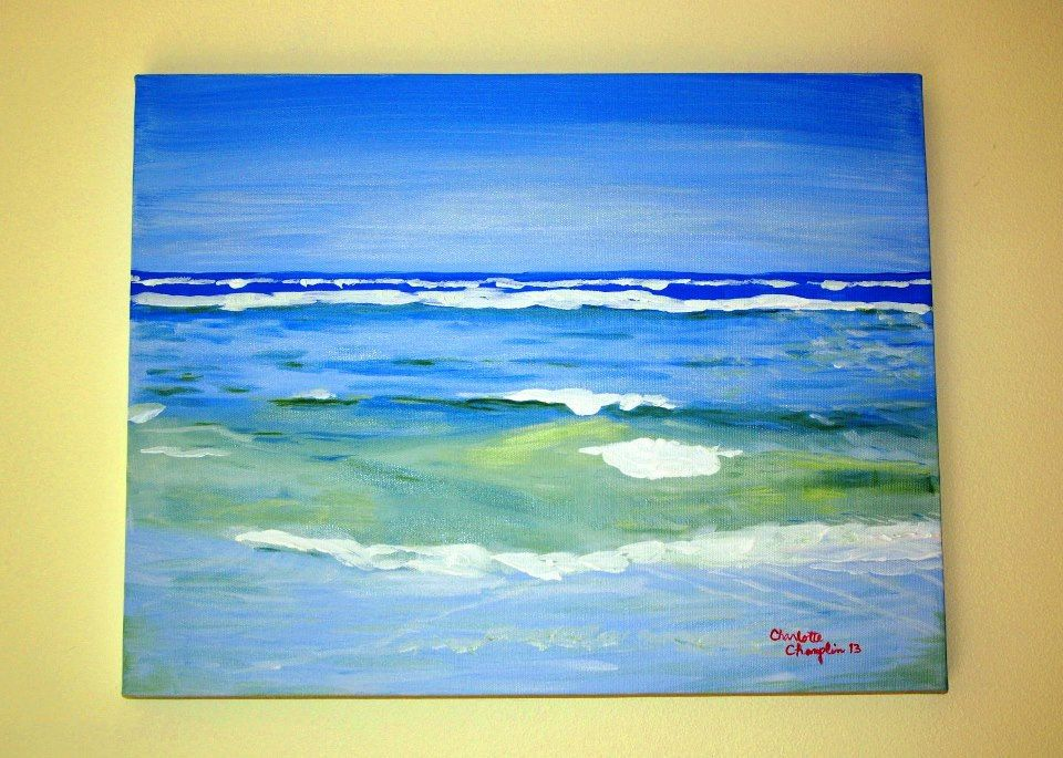 Original Art Abstract Blue Sky Ocean and Beach Acrylic on Streched Canvas 14 x 18 - pinned by pin4etsy.com