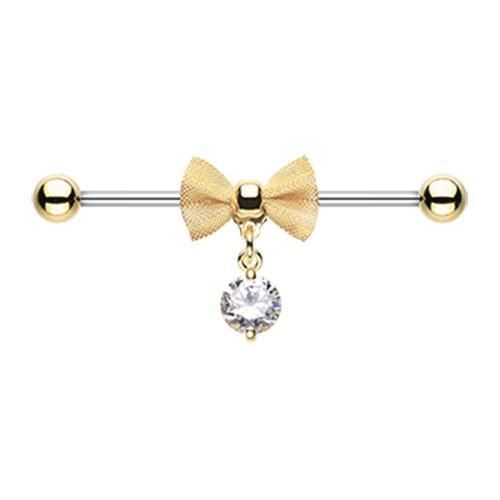 Clear Golden Adorable Mesh Bow-Tie Industrial Barbell