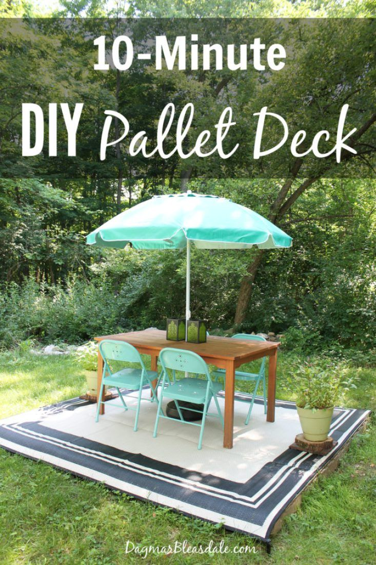 Our Backyard Diy Pallet Deck With 20 Outdoor Rug Pallet Decking
