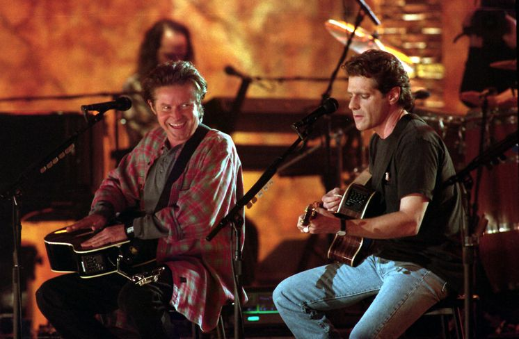 ... Don Henley, left, and Glenn Frey perform at an MTV Unplugged taping inside the ...