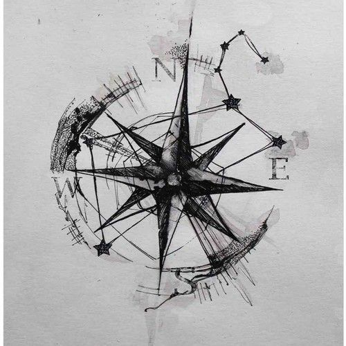 Photo of Compass Rose with graphic elements tattoo tattoo for a man, left bottom …