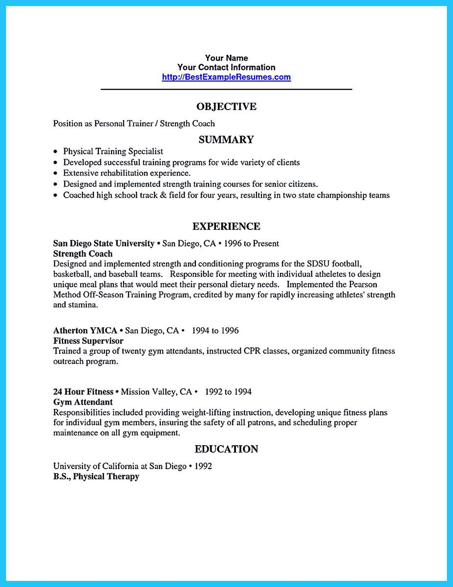 Resume For Personal Trainer It Is Relatively Easy To Write An Athletic Training Resumeto Write .